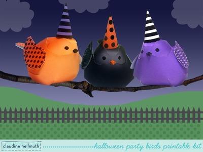 Make paper halloween bird decorations