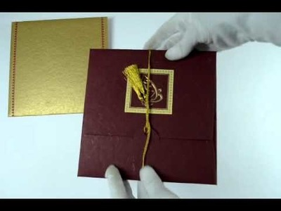 D-304, Red Color, Handmade Paper, Hindu Cards, Indian Wedding Invitations, Marriage Invitations