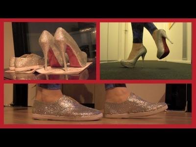 DIY glitter pumps en gympen ❤ Louboutin look-a-like