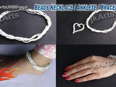 HOW TO: Make Beeds Necklace. Anklet. Bracelet JK Arts 519