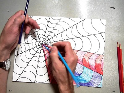 Op Art Vanishing Point Coloring A B Pattern (Part 2.2)