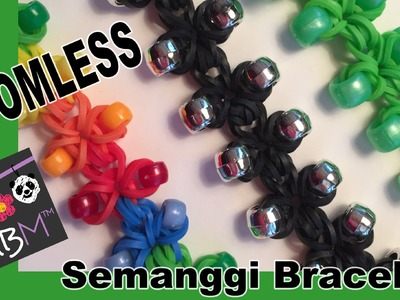 Rainbow Loom Band Beaded Clover Charm Semanggi Bracelet - Loomless