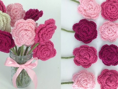 Crochet Rose Bouquet Free Pattern - Left Hand