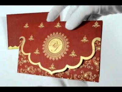D-911, Red Color, Handmade Paper, Small Size Cards, Designer Multifaith Invitations, Wedding Cards
