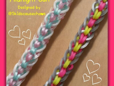"""Midnight Sun"" Rainbow Loom Bracelet.How To Tutorial"