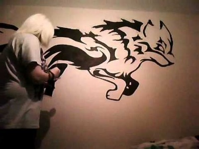 Painting A Tribal Wolf Onto My Wall :D