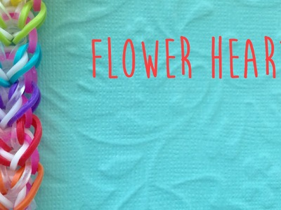 Rainbow loom bands flower heart tutorial