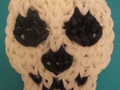 Rainbow Loom Skull Charm. Halloween.