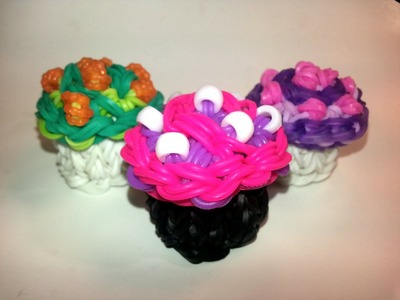 3-D Swirly Cupcake Tutorial by feelinspiffy (Rainbow Loom)