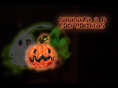 Calabaza 3D con gomitas. pumpkin 3D Rainbow loom. Halloween charm