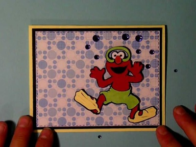"Cricut Elmo ""pool party"" invitation card  Sesame Street Seasons cartridge"