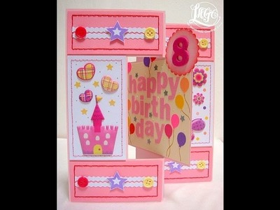 Little girl's birthday swing card - HB113