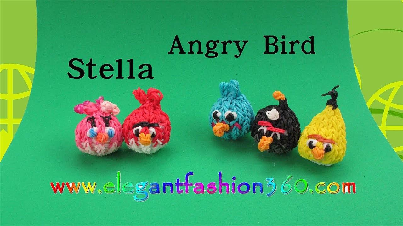 Rainbow Loom Angry Bird Stella 3D Charm - How to Loom Bands Tutorial