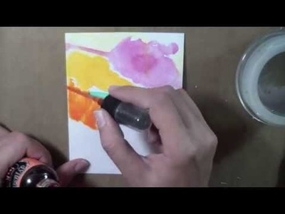 Watercolor background - India Ink & Dylusions Sprays