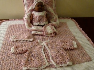 Crochet baby  layette, baby blanket, pillow, sweater, hat and dollie for baby