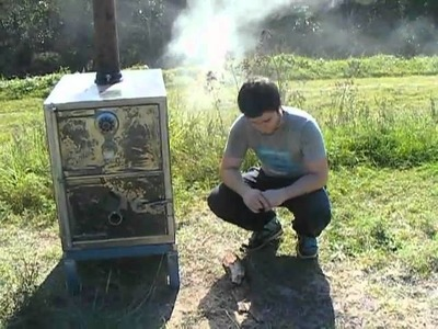Homemade Log burning woodstove made from a safe