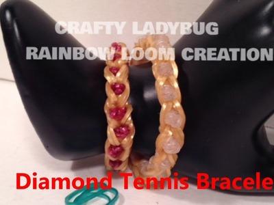 Rainbow Loom DIAMOND BRACELET WEDDING CHARM How to Make Tutorial Crafty Ladybug