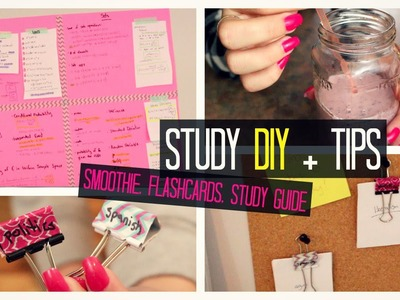 Study Tips DIY : Brain Smoothie; Wall Study Guide; Flashcard Organizer + Exam Tips | Laurie Martel