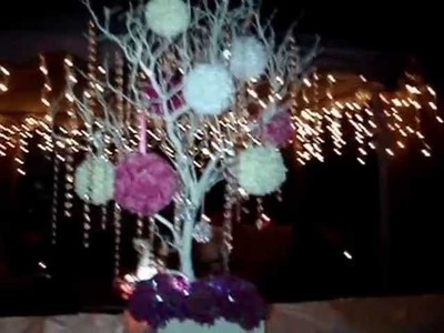 Chabby Chic Themed Manzanita Crystal Tree & Crystal Chandeliers