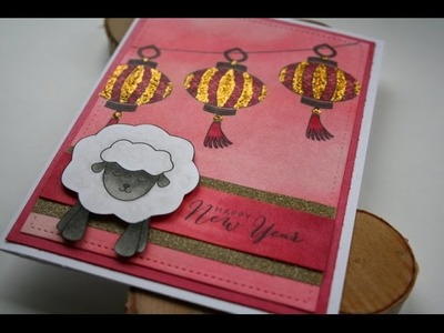 Chinese New Year Card featuring Jess Crafts Digital Stamp Sheep and Verve Stamps