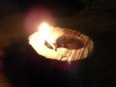 Evoo lamp from pine log and hemp twine