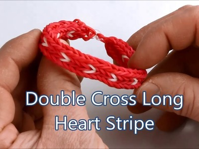 How to make the Double Cross Long Heart Stripe bracelet on the Rainbow Loom