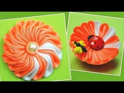 "Kanzashi Tutorial. ""2 in 1"" flower"