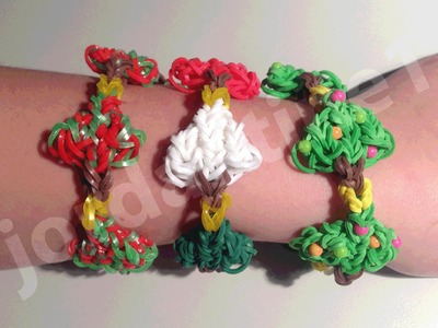 New Rainbow Loom Holiday Christmas Tree Bracelet - Part 1