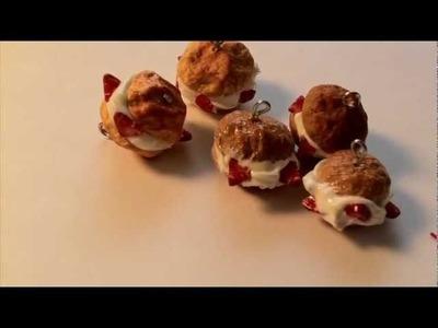 Polymer Clay Strawberry Cream Puff
