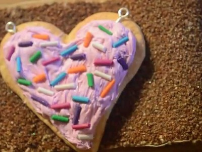 Polymer clay tutorial heart Sugar cookie with cream and funfetti
