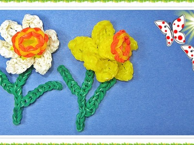 Rainbow Loom Flower. Daffodil (DIY Mommy)