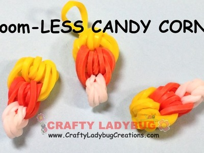 Rainbow Loom-LESS EASY CANDY CORN CHARM HALLOWEEN Series Tutorials by Crafty Ladybug.How to