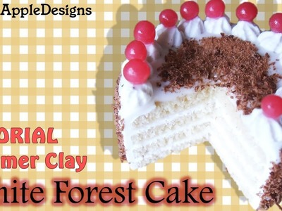 Miniature Polymer Clay White Forest Cake Tutorial