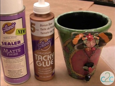 How To Create Vintage Inspired Doilies on Clay Pot featuring Aleene's Tacky Glue