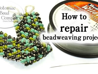 How to Repair Broken Beadweaving Projects (Bracelets, Necklaces, Pendants, seed bead jewelry, etc )