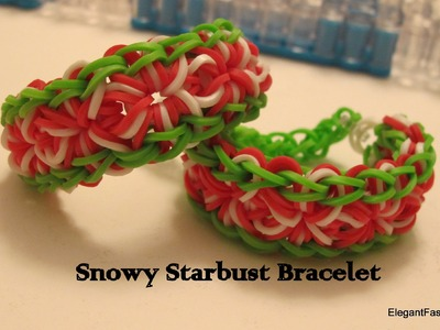 HD-Rainbow Loom Christmas Starburst in Snow Bracelet - How to
