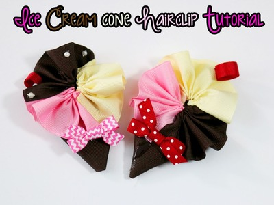 Ice Cream cone hairbow hair clip tutorial (How to make ice cream bow)
