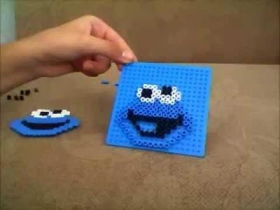 Perler bead.Hama bead. cookie monster!!!!!!!!!(tutorial)