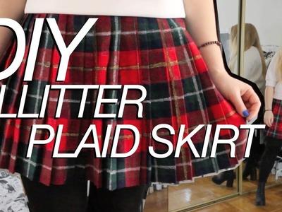 12 DAYS OF DIY   Plaid Glitter Skirt inspired by Saint Laurent