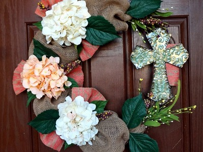 Burlap Easter Wreath with Cross Tutorial