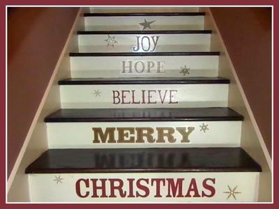 Christmas Home Decor Wall Decals on Staircase Make Big Impact