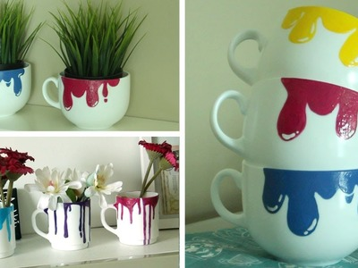 DIY Dripping Paint Mugs