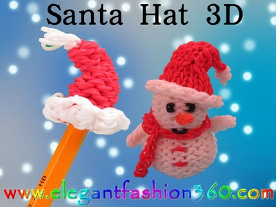 Rainbow Loom Christmas 3D Santa Hat.Pencil Topper Charm - How to Loom bands Tutorial Santa Claus