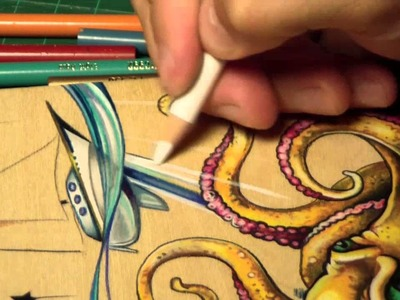 Time Lapse Prismacolor pencil octopus drawing