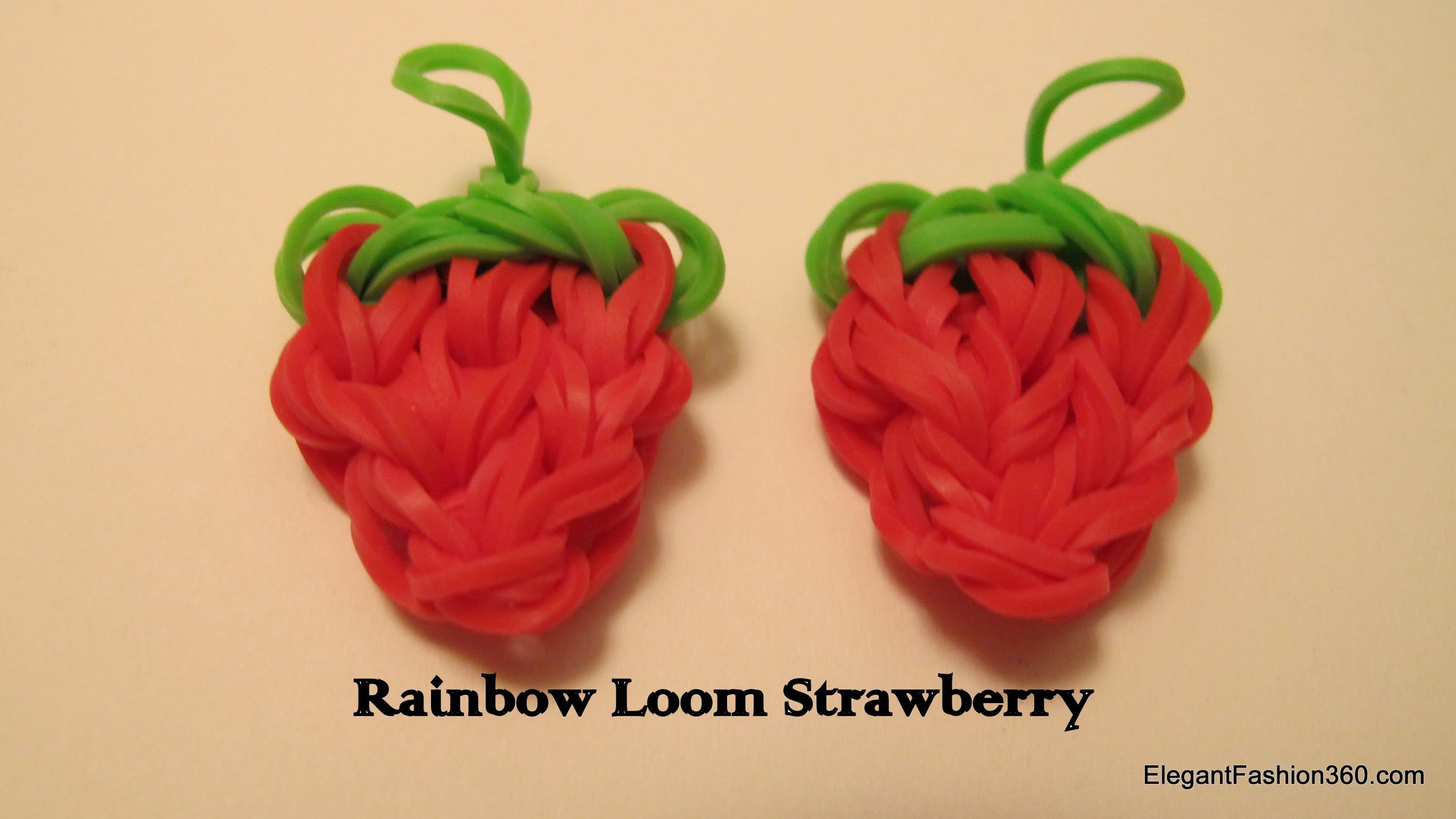 Updated: Rainbow Loom Strawberry Charm  - How to