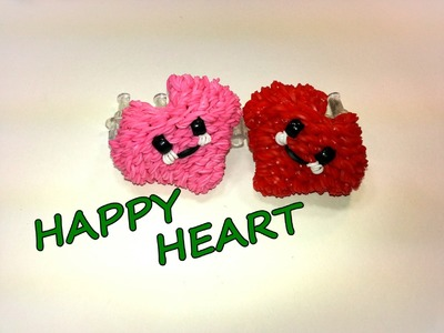 3-D Happy Heart Tutorial by feelinspiffy (Rainbow Loom)