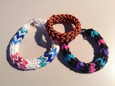 New Rainbow Loom Side By Side Double Cross Fishtail Bracelet - Finger Loom