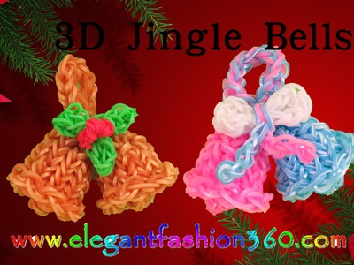 Rainbow Loom Jingle Bells 3D Charms - How to Loom Bands Tutorial.Christmas.Holiday.Ornaments