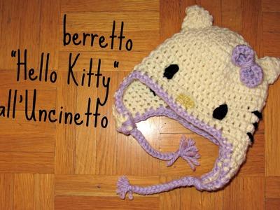 """Berretto """"Hello Kitty"""" all'Uncinetto"""