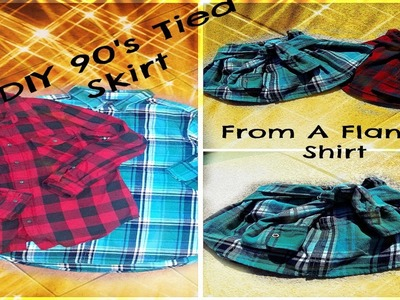 DIY 90's Tied Skirt From Men's Flannel | ShopWasteland Inspired